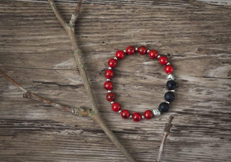 Meditation Bracelet (Red) and Essential Oil Blend