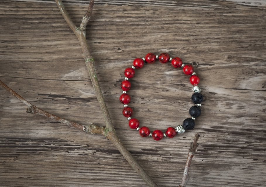 Meditation Bracelet (Red) and Essential Oil Blend